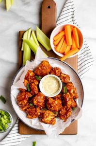 BBQ Cauliflower wings with a dip