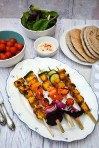 Tandoori Tofu Kebabs on a plate