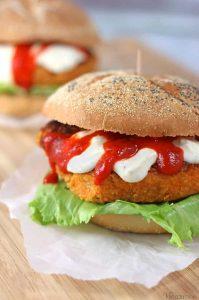 vegan burger with siracha in a bun
