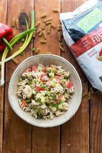 vegan pasta salad with vegetables