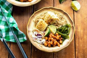 BBQ Beans Rice and Salad in a bowl
