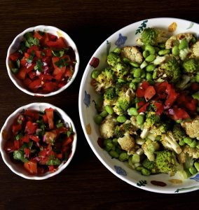 roasted cauliflower salad with beetroot in bowls