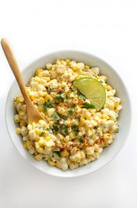vegan corn salad with dressing in a bowl