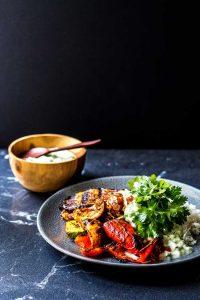 Grilled vegetables with coconut raita