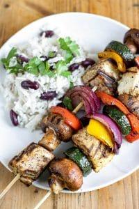 vegan grilledtofu skewers with rice and peas