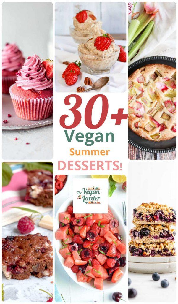 Collage of 6 different vegan desserts.