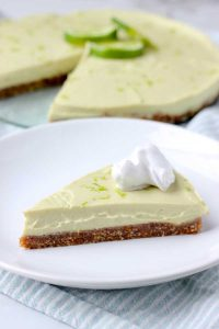 Slice of key lime pie on a plate
