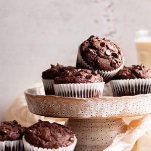 chocolate vegan Zucchini muffins in a stack