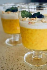 Vegan Mango pudding in a glass