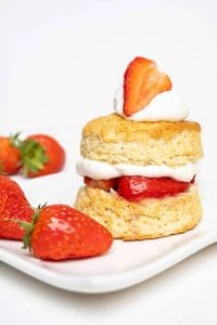 vegan shortcake filled with cream and strawberries