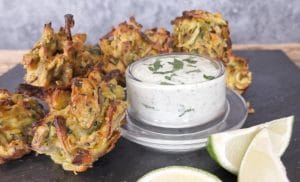 Baked courgette onion bhaji