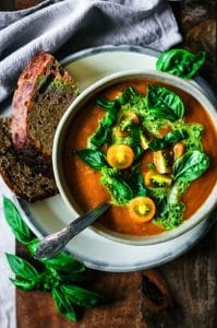 Roasted zucchini and tomato soup
