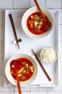 vegan kimchi soup in 2 bowls