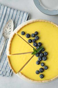 vegan lemon tart sliced up