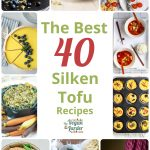 Collage of different silken tofu recipes including cheesecake, frittata and mini frittatas
