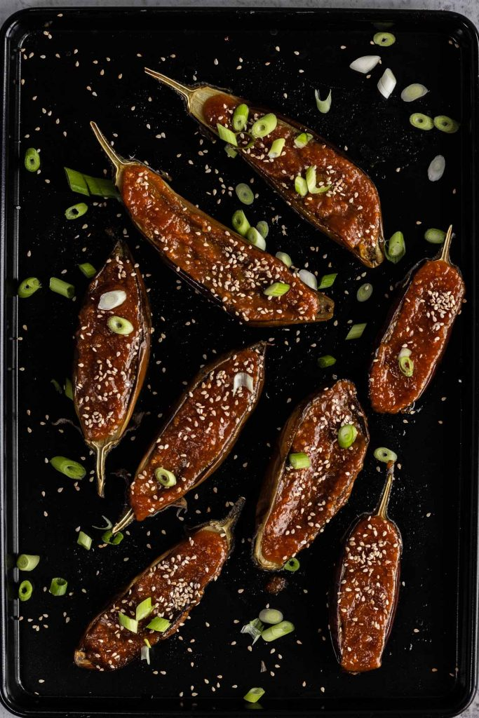Miso Glazed Aubergines on an oven tray ready to eat.