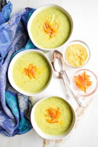 zucchini soup in bowls