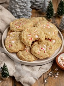 candy cane cookies on a plate