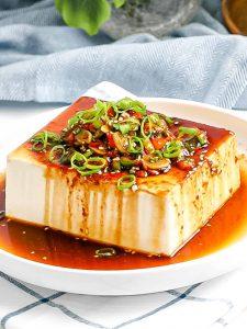 silken tofu with korean sauce on a plate