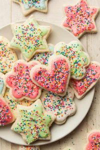 decorated vegan sugar cookies on a plate
