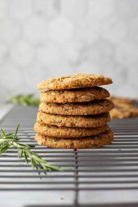 vegan rosemary tahini christmas cookies in a stack