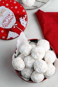 vegan snowball christmas cookies in a ball